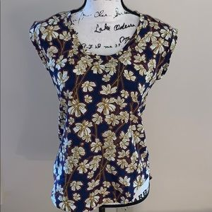 J CREW navy, red, gold flowered blouse 00
